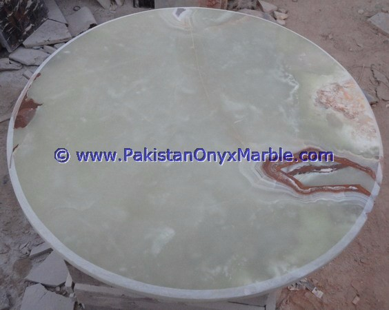 POLISHED LIGHT GREEN ONYX TABLE TOPS COLLECTION