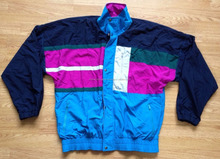 VINTAGE RETRO URBAN NYLON JACKET/pullover windbreaker jacket /Vintage Jacket Teal Black