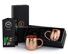 16 oz Copper Barrel Mug for Moscow Mules - 100% Pure Hammered Copper with retail gift black gift boxes usa mug