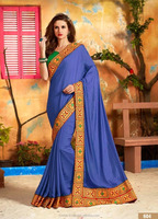Embroidery Designer Blue Border Saree.
