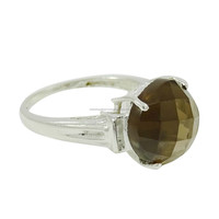 Smoky Topaz Stone Ring 925 Sterling Silver Fashion Women Jewellery Size 8.25