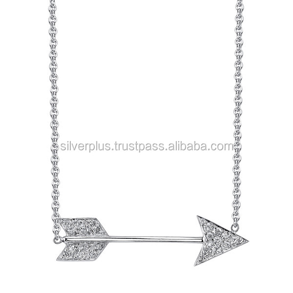 18k Solid White Gold Link Chain Pave Diamond Arrow Connector Necklace Wholesale Gold Diamond Jewelry