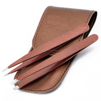Beautiful color Leather kit packed slanted point eyebrow tweezers
