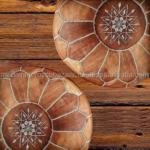 Vintage Handmade Moroccan Genuine Leather Tan Ottoman Poufs