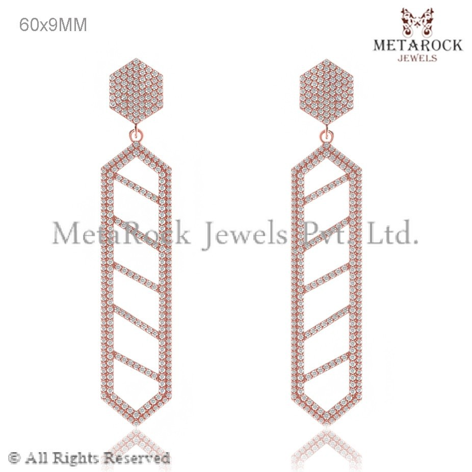 14k Rose Gold Diamond Earring Rhombus Earing, New Design Gold Earring Handmade Diamond Earring, Party Wear Gold Earring
