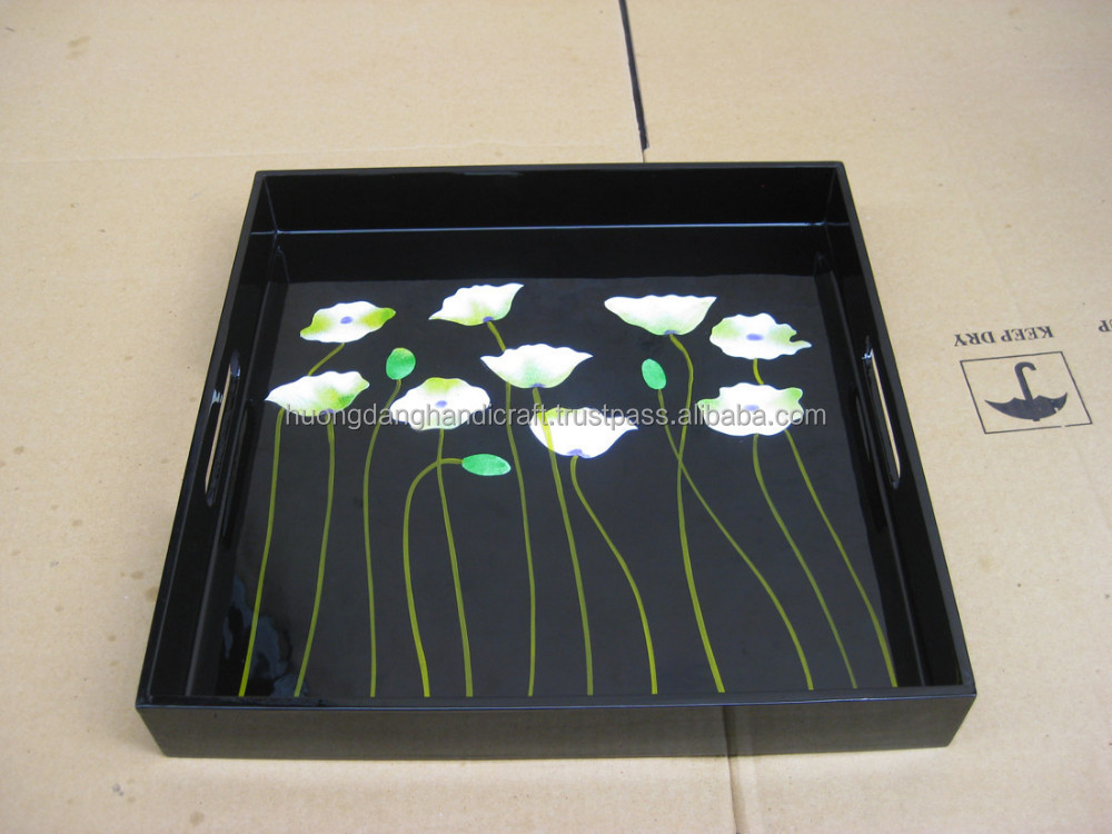 Square Tray with Flower Fiel Drawn by VIetnamese Handicraftsmen