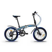 "GARION 20"" Alloy Folding Bike Foldable Bicycle with Disc Brake - Matte Brown with Blue"