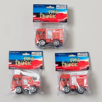 FIRE TRUCK MINI 3.5IN PULLBACK 3ASST GOV LOGO POLYBAG HEADER #G16865