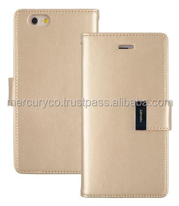 PU leather phone diary case Mercury Rich diary case (GOLD)