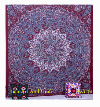 Twin Bedspread Cotton Printed Single Dorm Bed Cover Manufacturing Tapestries India Bed Sheet Tapestry
