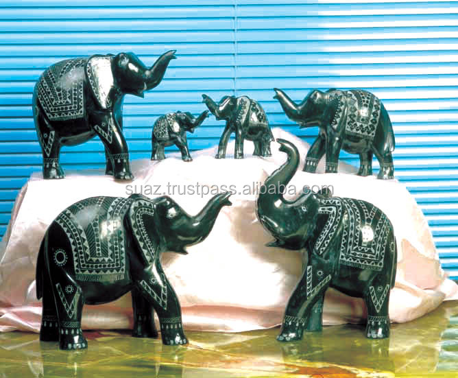 Marble carved Elephants , Onyx hand carve Animal Sculptures , Black and White Marble Statues