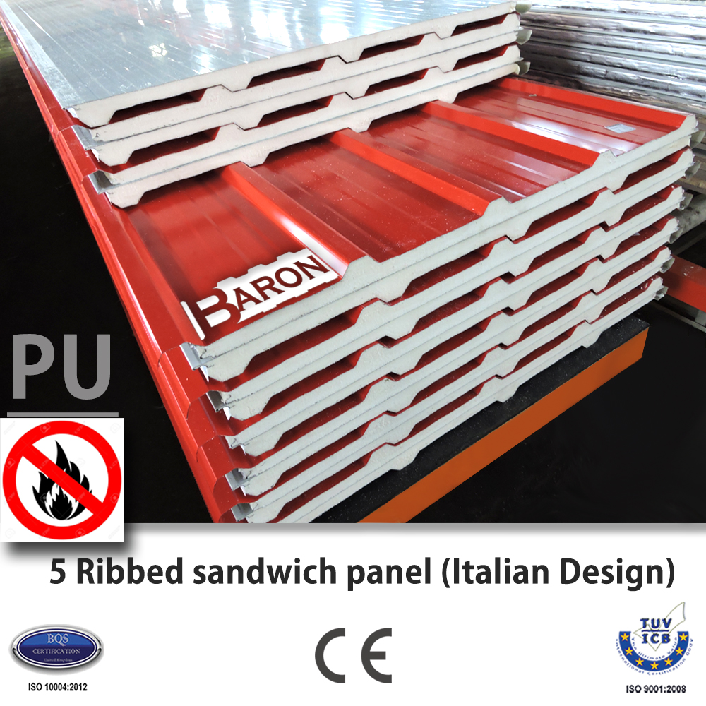 5 Ribbed PU Roof Sandwich Panel (Italian Design)