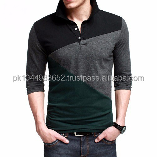 New design men long sleeve polo shirt