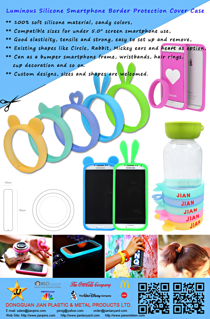 JIAN Golden Supplier Customized Silicone Wristband / Phone Cover