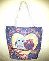 Colorful Owl design Cotton Canvas shoulder shopping Bag