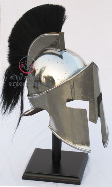 Spartan Helmet With Black Plume 300 Movie Replica