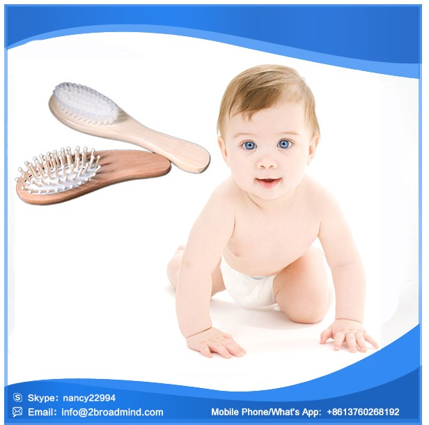 M1593 Alibaba Amazon popular Hot selling best quality daily care soft goat hair baby hair brush set for new born baby