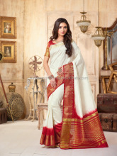 Topnotch Off White Tussar Silk Saree/function wear designer saree/wholesale saree