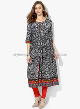 BLACK &WHIT PRINTED FRONT OPEN ANARKALI WITH 3/4th SLEEVES