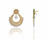 24K Gold Diamond Polki Designer Kundan Danglers with Pearl dropings