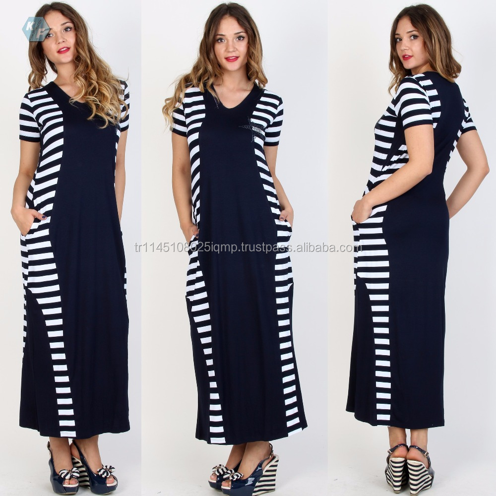 Plus size women clothing maxi dress short flare sleeve dress stripe dress