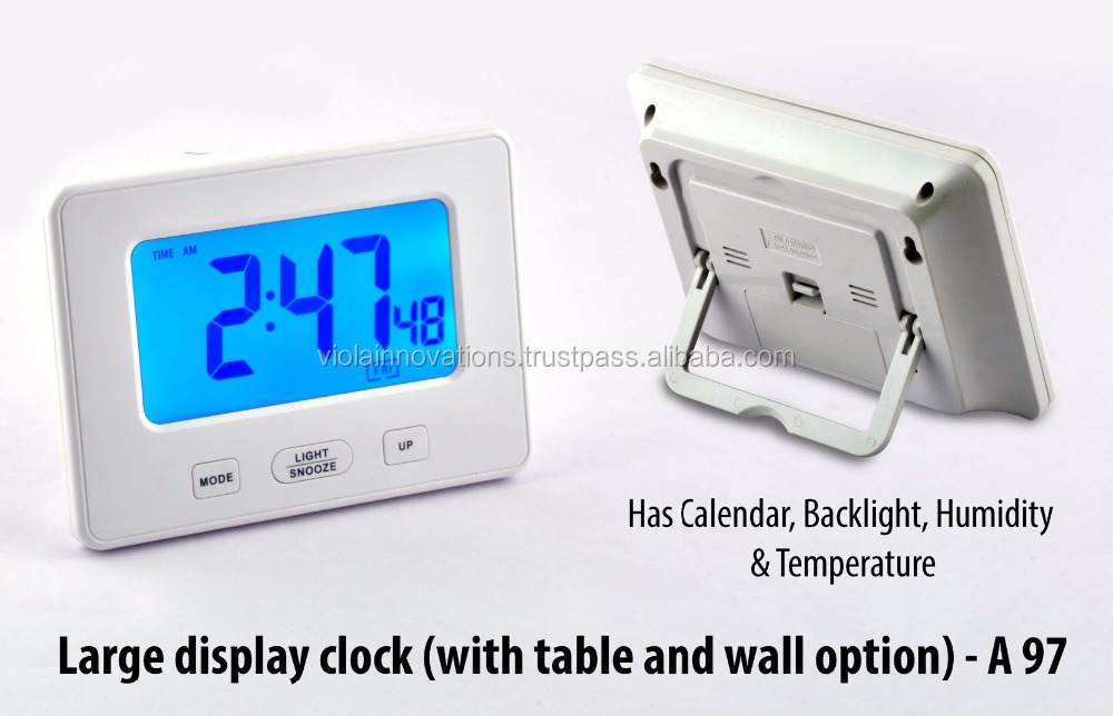digital desk clock with day and date