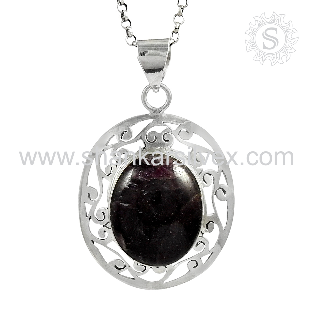 Natural Star Ruby Gemstone Silver Pendant Wholesaler Silver Jewelry Handmade Sterling Silver Pendant