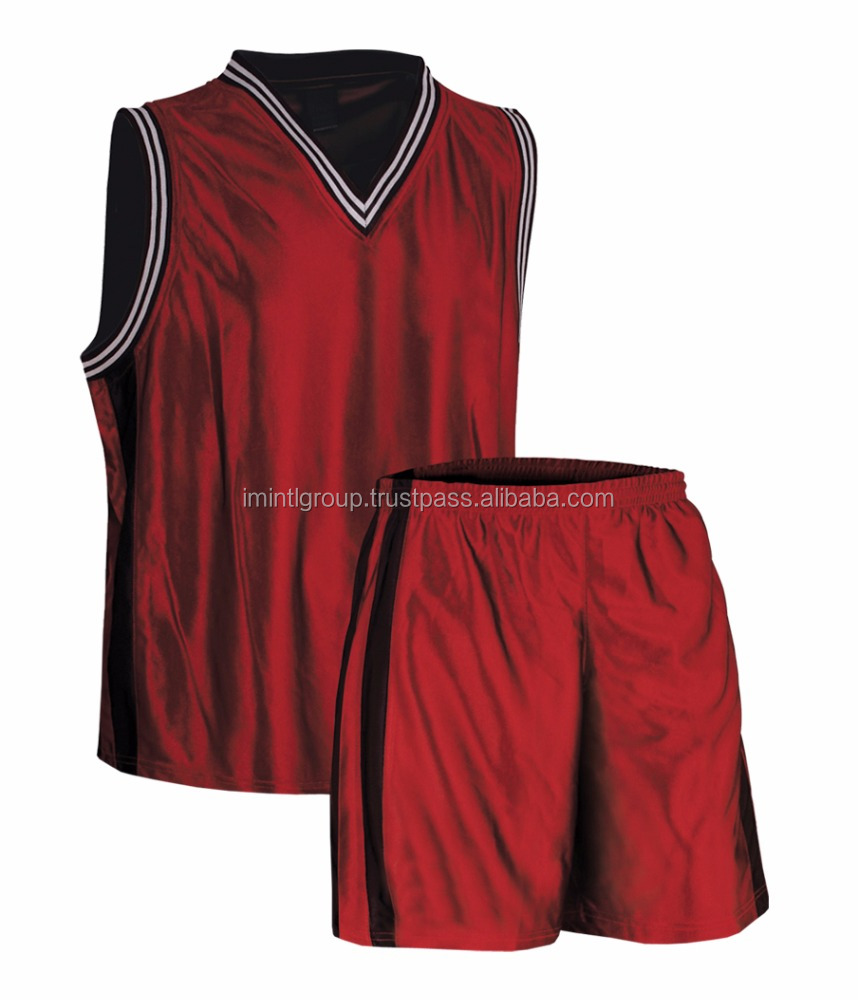 Red shine fabric Basketball Uniform Jersey/short hot sell products