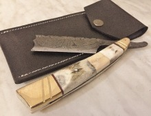 Custom Hand Made Damascus Steel Blade Straight Razor (Razor Sharp Edges) with Leather Sheath