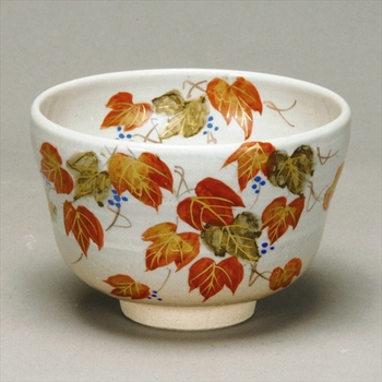 The Popular Autumn tea bowl tsuta Ivy with Tea utensils made in Japan