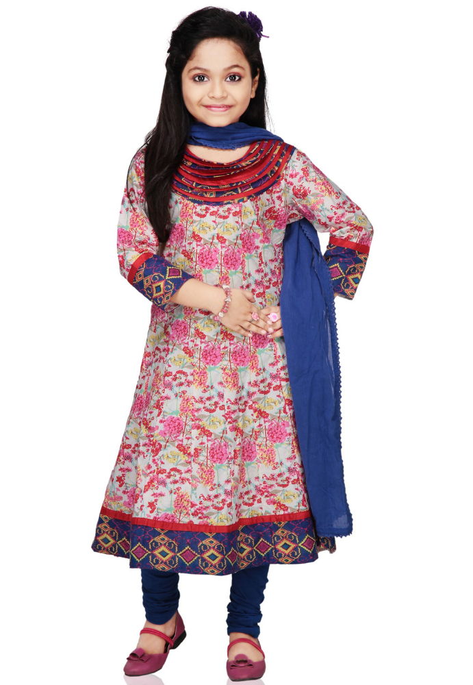 Vastra Vinod White and Multicolor Cotton Readymade Anarkali Churidar Kameez