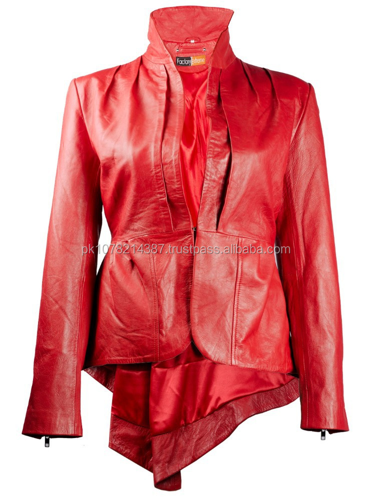 2015 New fashion Flam Glam Suave Red Womens Leather Jacket for womens