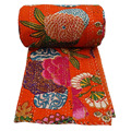 Orange Color KANTHA QUILT FLORAL COTTON BEDSPREAD BLANKET THROW COVERLET Flower