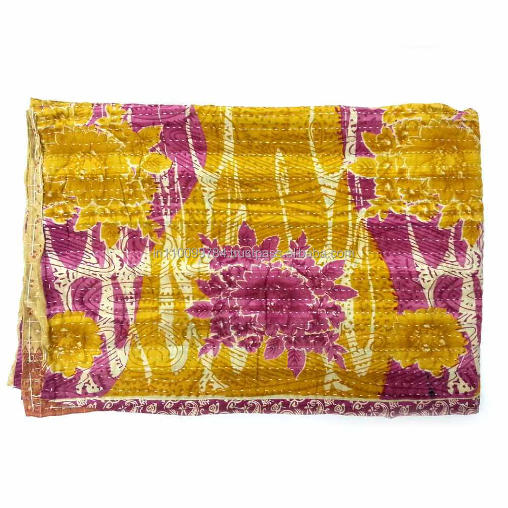 Very Old Sari Bengali Kantha in Mustard