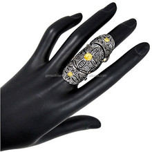 14k Yellow Gold Black Diamond Full Finger Ring 925 Sterling Silver Knuckle Ring Jewelry Supplier