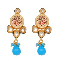 Wholesale New Handmade Antique Work Kundan Meena With Aqua Drop Ram Leela Earring