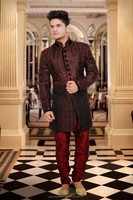Dark Red Wine, Saddle Brown colors Readymade Sherwani