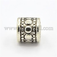 Tibetan Style Zinc Alloy Beads, Column with Circle Pattern, Antique Silver, 7x7mm, Hole: 2mm PALLOY-L094-AS