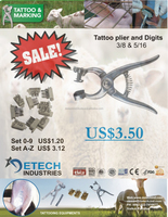 Tattoo Plier 5 - 6 Space size 3/8 and 5/16 aluminum animal detech inds identification veterinary tattoo plier DETECH Industries
