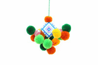 Handmade Pom Pom and Yarn Mobile Home Decoration or Keychain Thailand