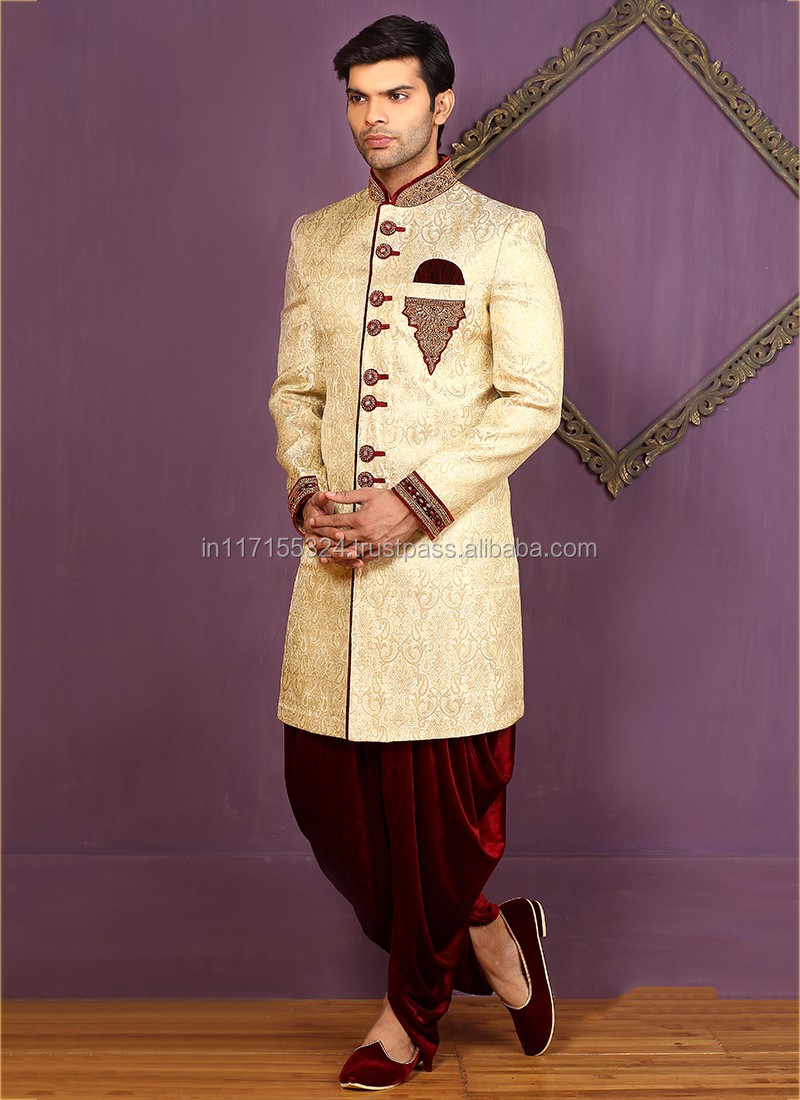 Orange Banarasi Silk Wedding Wear Embroidered Work Sherwani