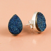 925 Sterling Silver Earrings Druzy Gemstone
