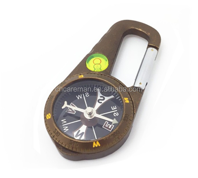 Deluxe Metal Retro Carabiner Compass with Bubble Level, Spirit Level/Gradienter Gift Compass Carabiner OEM Orders Accepted