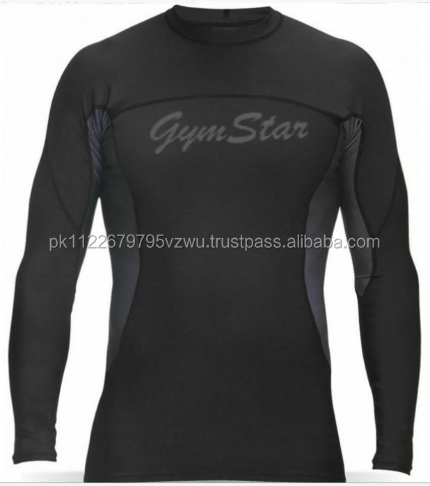 quick-dry compression shirt/rash guard in black color with contrast sleeves best for for maximum mobility and comfort