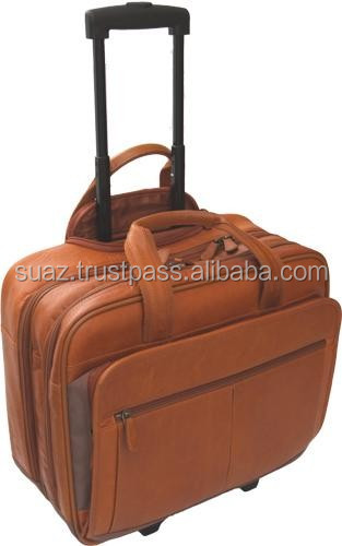 Wheeled Business bags , Leather trolley case bag , Tan color original leather trolley bags , Genuine Leather Traveling Bags