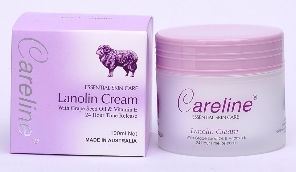 Careline Lanolin with Grape seed oil & Vitamin E 100g (Made in Australia) Face and body
