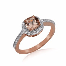 adorable design rose gold plated white topaz cushion peach morganite gemstones silver ring jewellery