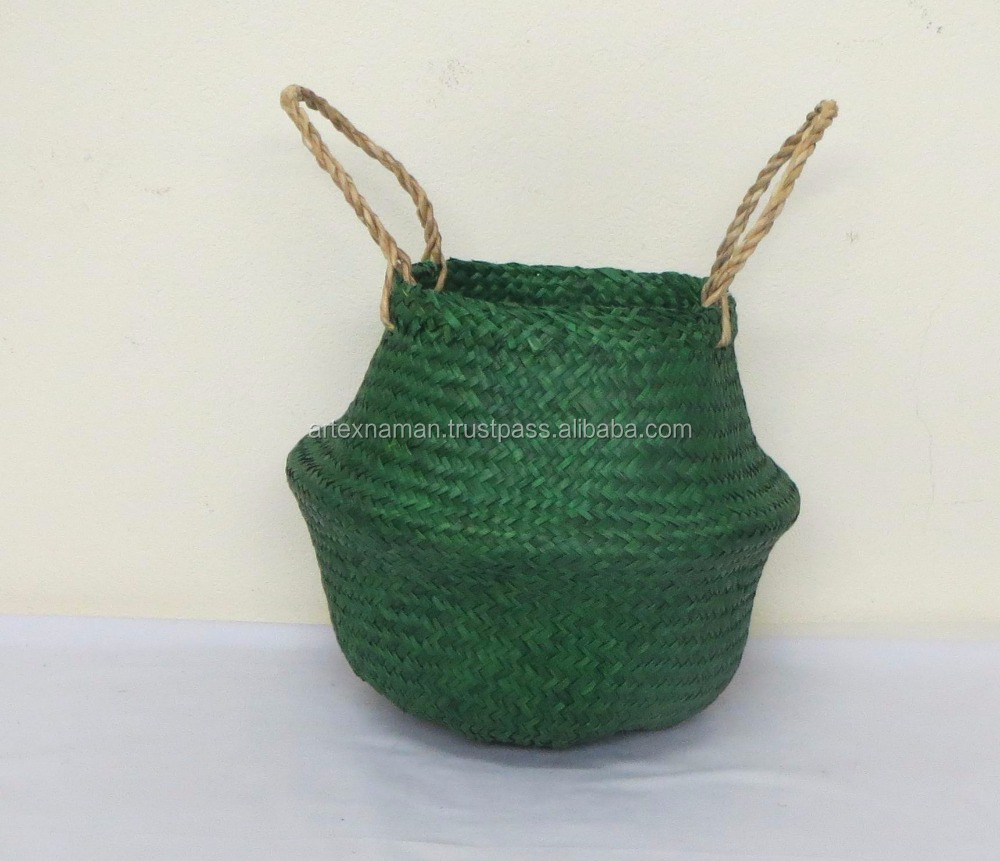 Eco-friendly seagrass foldable basket, ball basket