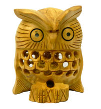 Wooden Owl Medium Statue Collectible