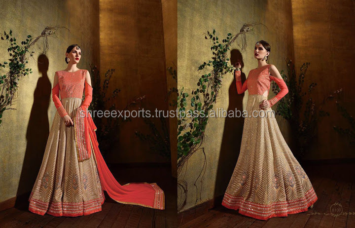 Georgette Orange Anarkali Salwar Suit/indian suit salwar kameez sale/wholesale salwar suit
